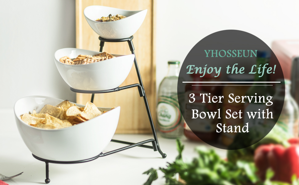 3 Tier Serving Stand with Oval Porcelain Bowl with Collapsible Thicker Sturdier Metal Rack