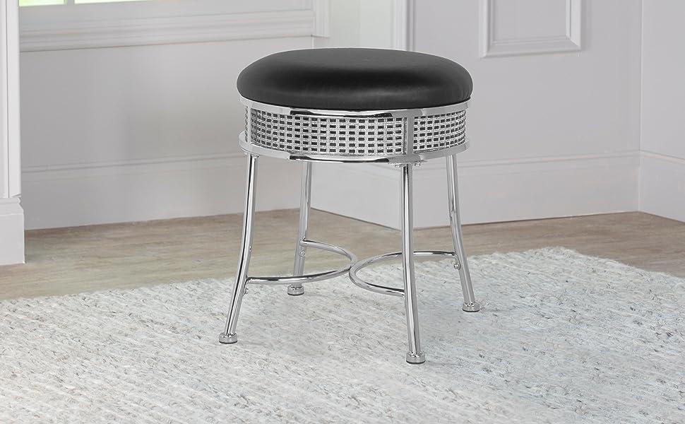 Backless vanity stool, metal vanity stool, metal stool, bath stool, backless bath stool, chrome