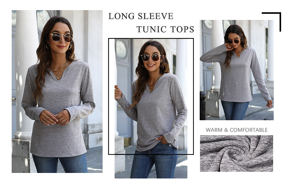 Women Casual Sweatshirt Long Sleeve V Neck Pullover Solid Color Loose Tops