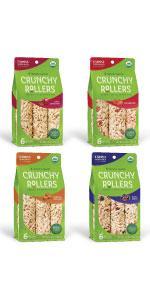 Friendly Grains Crunchy Rollers Variety Pack. Allergen Friendly puffed brown rice snacks.
