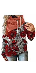 Fashion Pullover Tops Floral Hooded Sweater