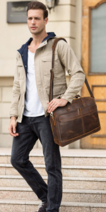 Genuine Leather Briefcase for Men Fits 17 Inch Laptop