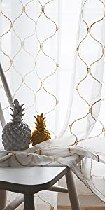 Embroidery Sheer Curtains Beige 95 Inches, Floral Pattern Window Treatments Rod Pocket
