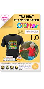 Inkjet Heat Transfer Paper for Dark T shirts Fabrics 10 Sheets