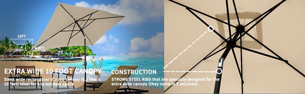 Patio rectangular umbrella