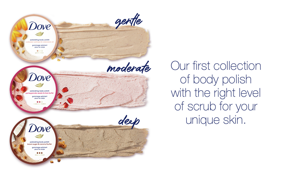 Our first collection of body polish with the right level of scrub for your unique skin.