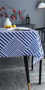 Joyfol Day Blue Stripe Tablecloth