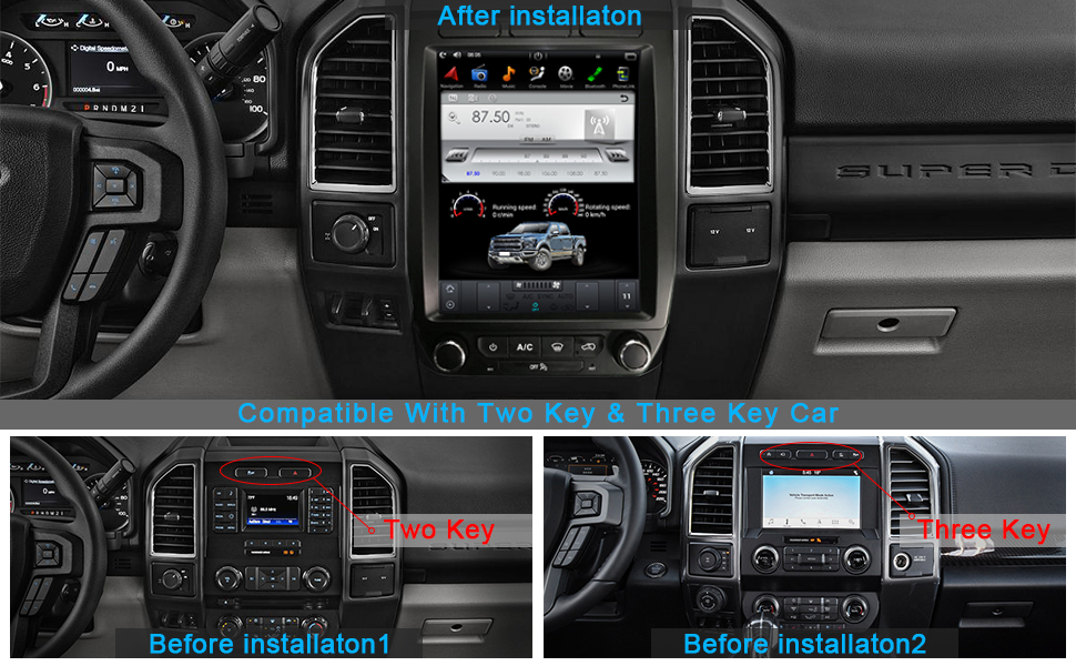 Ford F150 Raptor F250 F350 F450 Vertical Screen Android PX6 4G+64G Multimedia Player in-Dash Kit