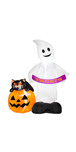 Inflatable Ghost with Pumpkin Black Cat