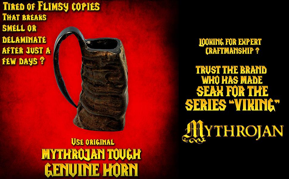Mythrojan horn mugs mug tankard epic sca larp reenactment