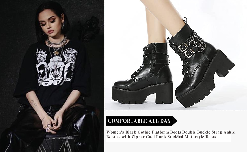 Cool Punk Studded Motorcyle Boots