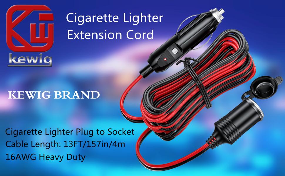 13FT 12V 24V Cigarette Lighter Extension Cord