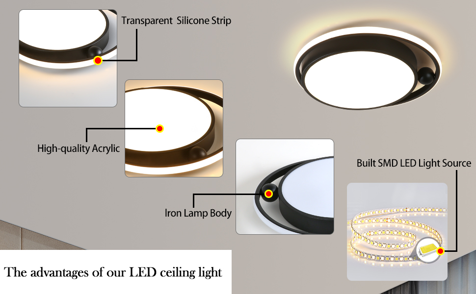 LED Bedroom Light Ceiling Light inch Dimmable Remote Control 3-Color Living Room Lighting Fixture