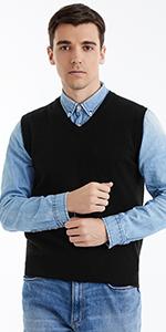 Menamp;amp;amp;#39;s V Neck Black Sweater Vest 100% Pure Merino Wool