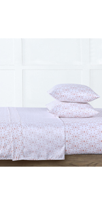 pink Microfiber Sunrise Printed 4-Piece Sheet Set