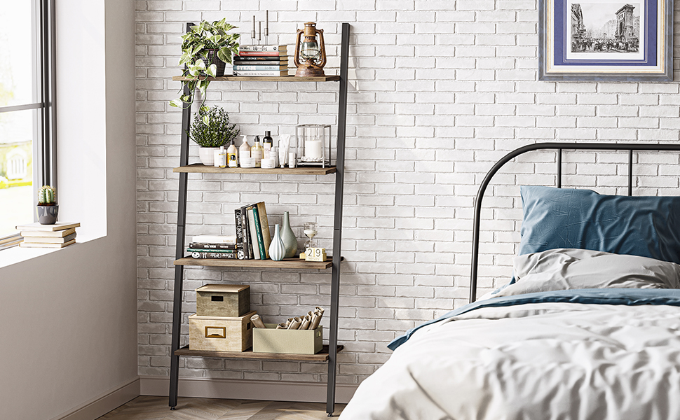Cubicubi Ladder Shelf, Leaning Shelf, 4-Tier Bookshelf, Plant Flower Stand Grey Brown