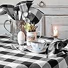 Cotton Buffalo Plaid Square Tablecloth Beige and Cream