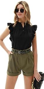 Camisa Mujer Sin Mangas Vintage de Encaje Decorado Verano