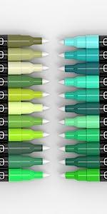 pen tips warm, cool, light, dark green colors acrylic paint pen tips