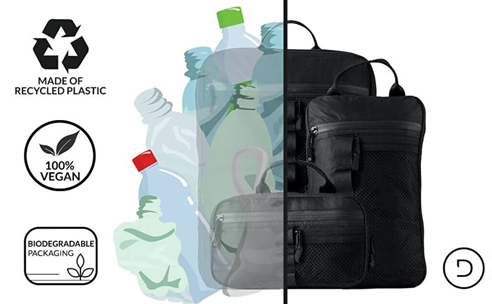 Recycled plastic bags with compression