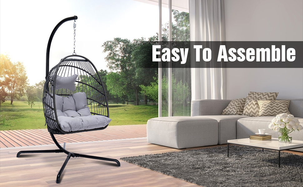 Gray egg chair with stand