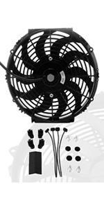 "16"" inch Universal Slim Fan Push Pull Electric Radiator Cooling 12V Mount Kit"