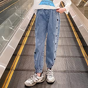 Lovely girls elastic waist slim fit denim pants jeans