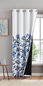 Blue Floral Blackout Curtains
