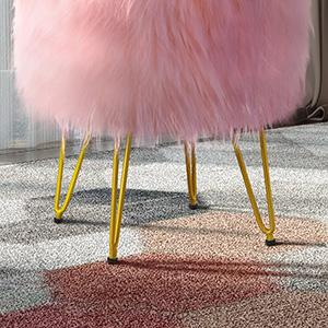 faux fur vanity stool round makeup vanity ottoman storage stool chair bedroom modern