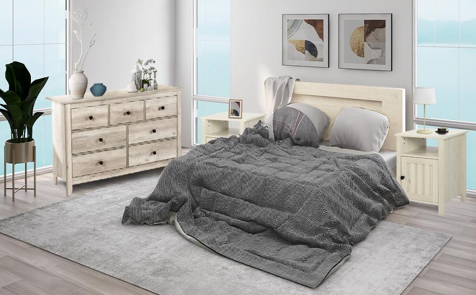 条纹床头柜白