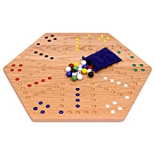 """Aggravation Game, Wooden Board, Oak , Hand Painted Holes, 24"""" Wide, With Glass Marbles"""
