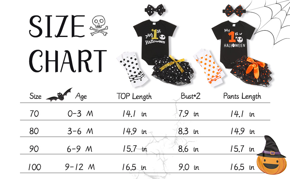 My First Halloween Outfits Baby Girl Newborn Skull Print Romper Dots Shorts with Leg Warmer