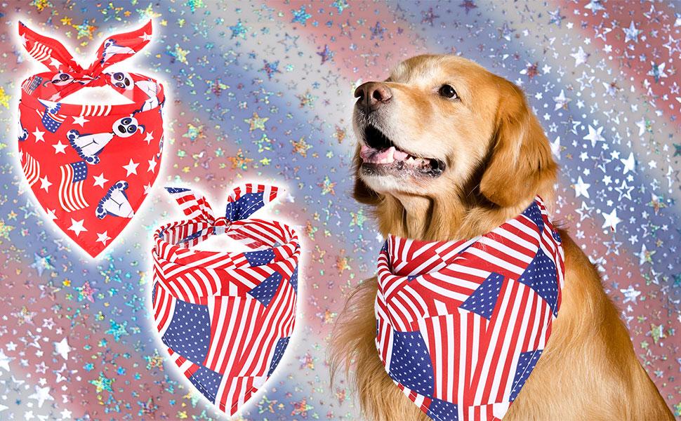 2 Pack American Flag Dog Bandana-1
