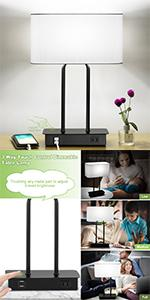 Dimmable Table Lamps with White Shade