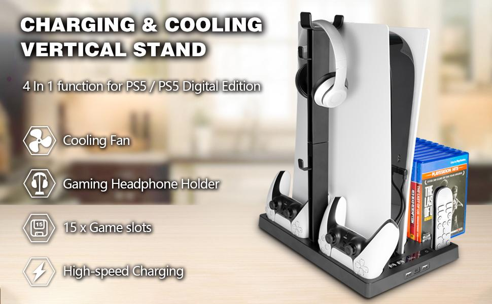PS5 Stand Cooling Fan Station