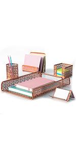 5 Piece Desk Organizer Set Rose Gold Art Deco