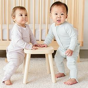 One piece pajamas, 2-way zipper, easy diaper change, organic cotton.
