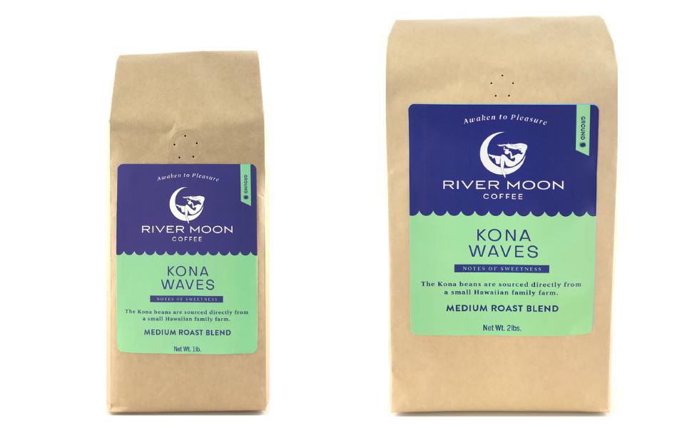 Kona ground coffee blend beans hawaiian medium roast 1lb 2lbs hawaii arabica river moon US