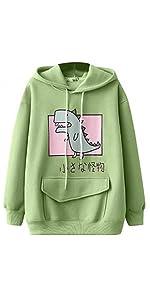 Cute Dinosaur Hoodies Green