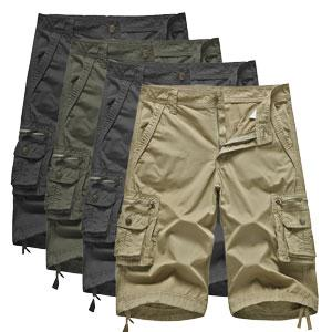 Mens Cotton Long Cargo Shorts with Multi Pockets