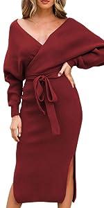 wine red sweater midi dress