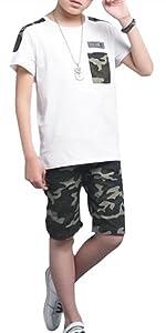 boys camo shorts set
