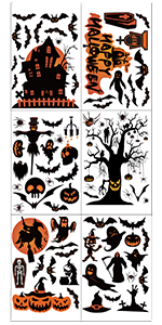 Window Clings Decals Decorations, 6 Pcs Halloween Window Stickers for Glass Windows