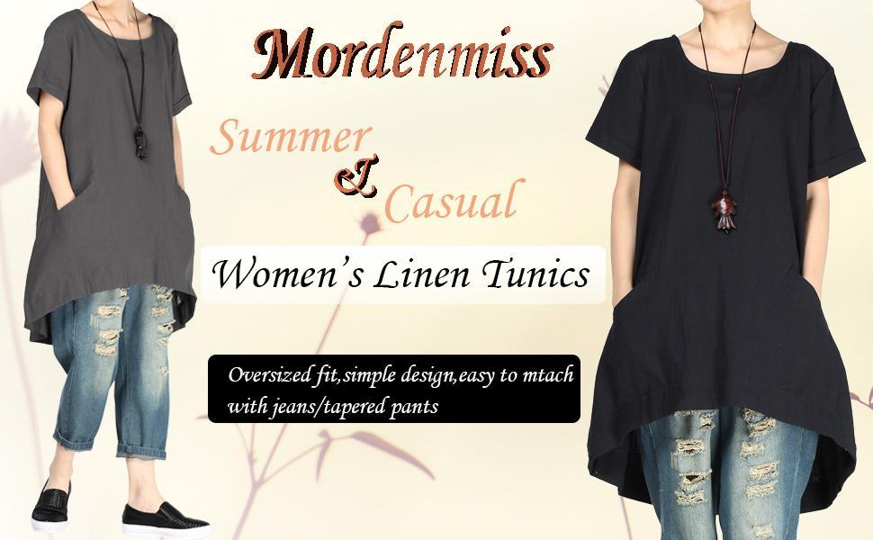 women's linen tunic tops for summer