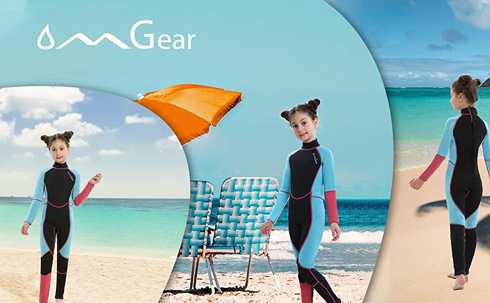 OMGear girl children surf wetsuit neoprene suit 3mm