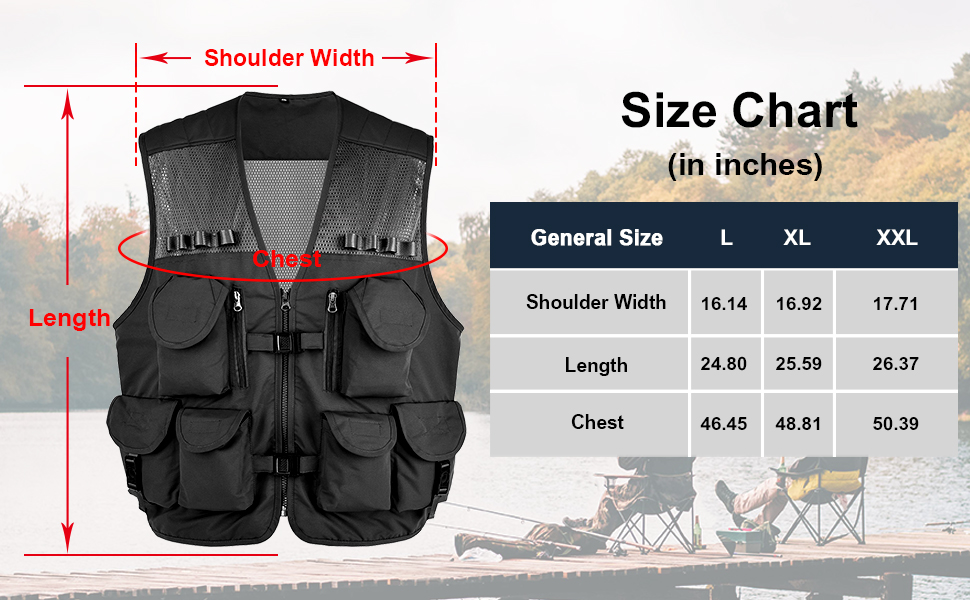 Fishing Vest Size Chart