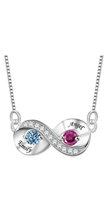 Personalized Mother necklace with 2 Stone Engraved Names