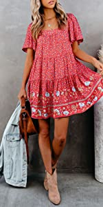 Summer Boho Floral Print Dress