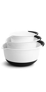mixing bowls set of 3 plastic bpa free white black soft grip