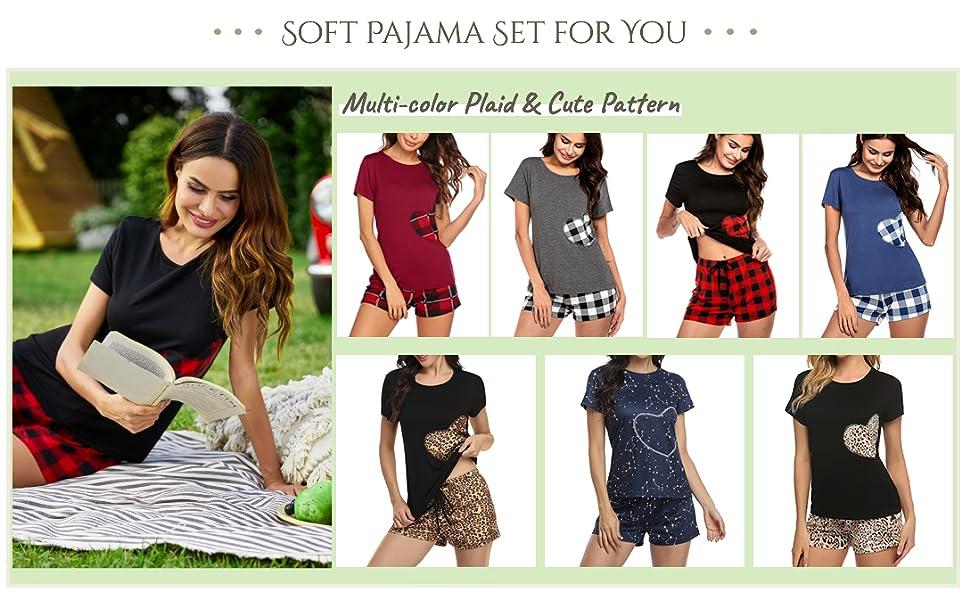 women soft pajama two piece lounge set plaid sleepwear